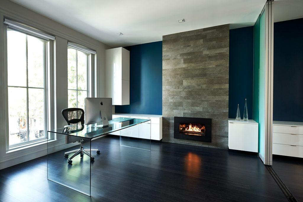 Modern Home Office Stone Fireplace