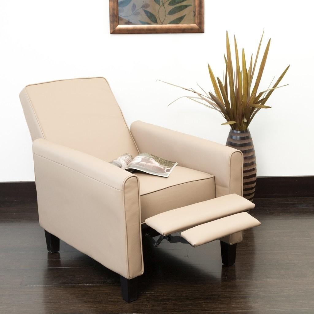 Modern Ivory Recliner Club Chair Stylish Arm Pull