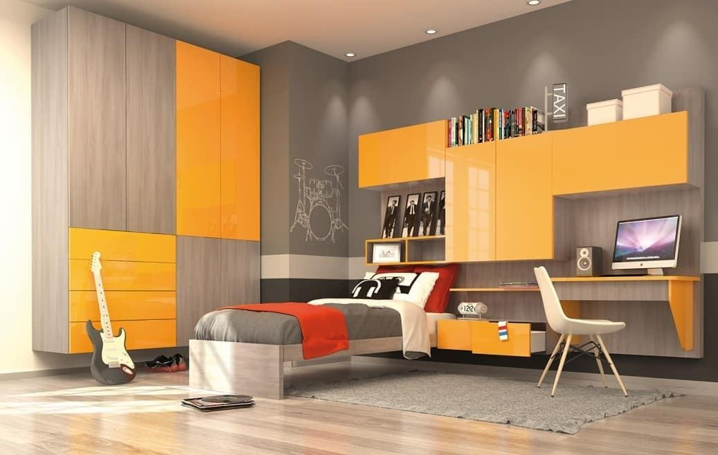 Modern Kid Bedroom Wall Wardrobe Yellow Elm