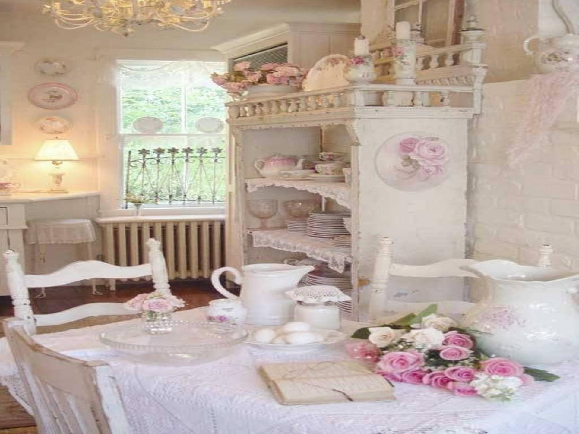Modern Kitchen Pink White Colour Scheme Shabby Chic