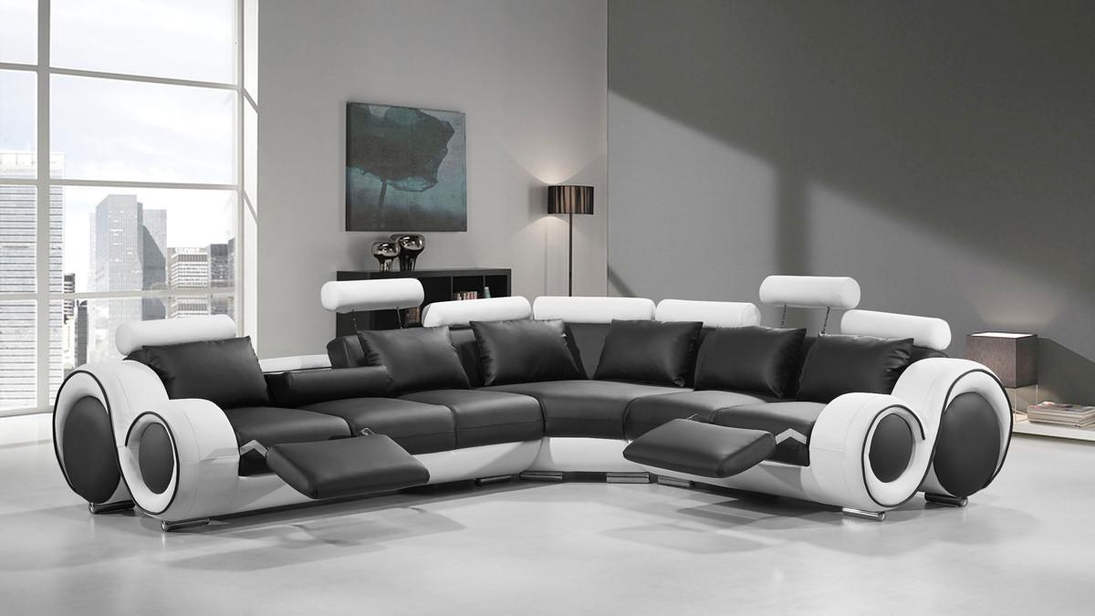 Modern Leather Sectional Sofa Recliners