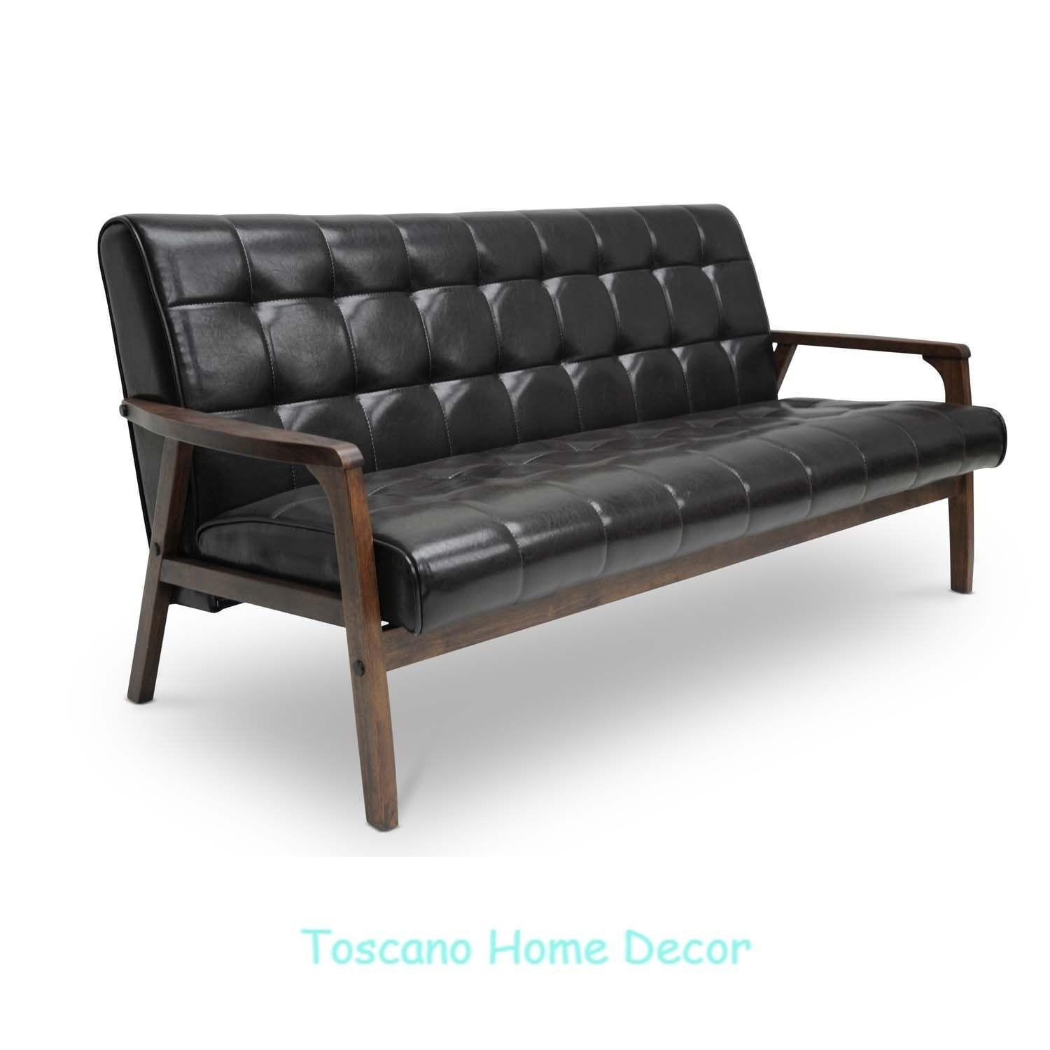 Modern Leather Sofa Brown Tufted Couch Contemporary Wood