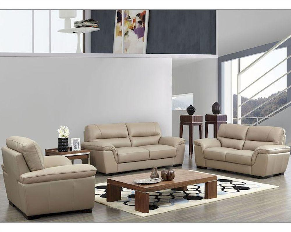Modern Leather Sofa Set Beige Color Esf8052set