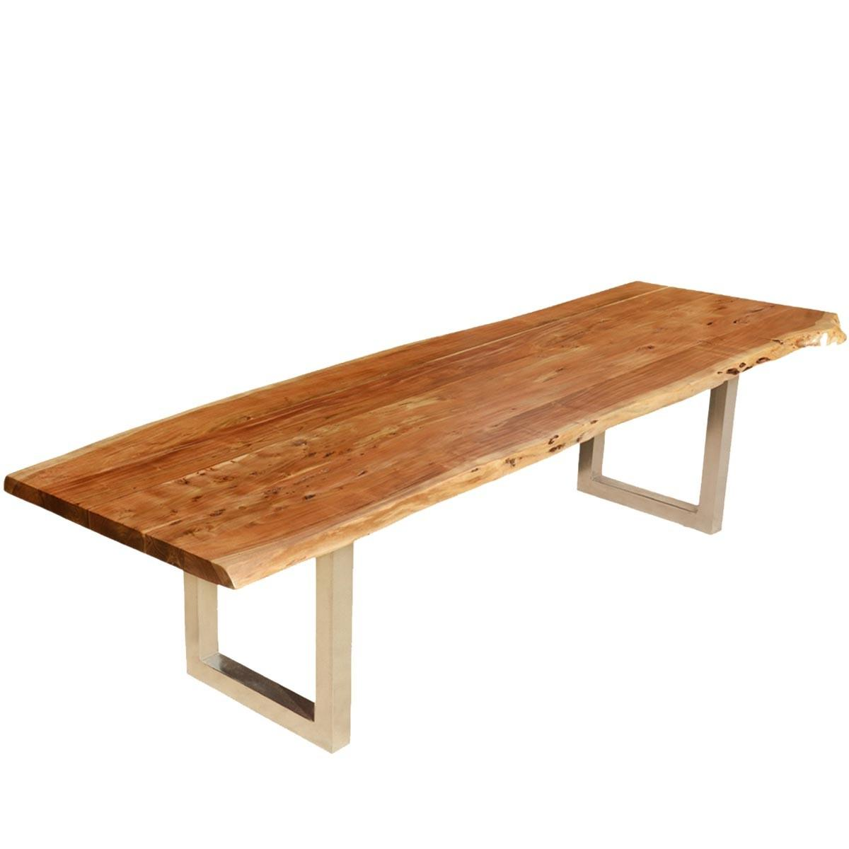 Modern Live Edge Dining Table Acacia Wood Iron