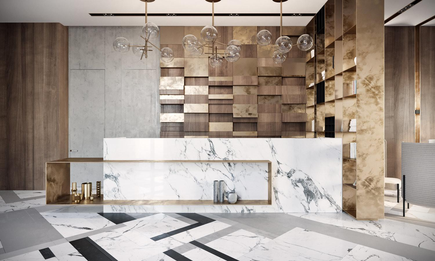 Modern Lobby Moscow Combines Brass Marble Special