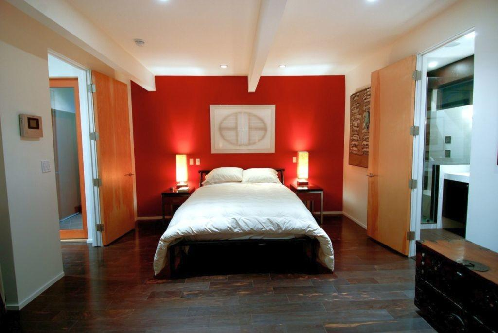 Modern Mens Bedroom Red Accent Wall