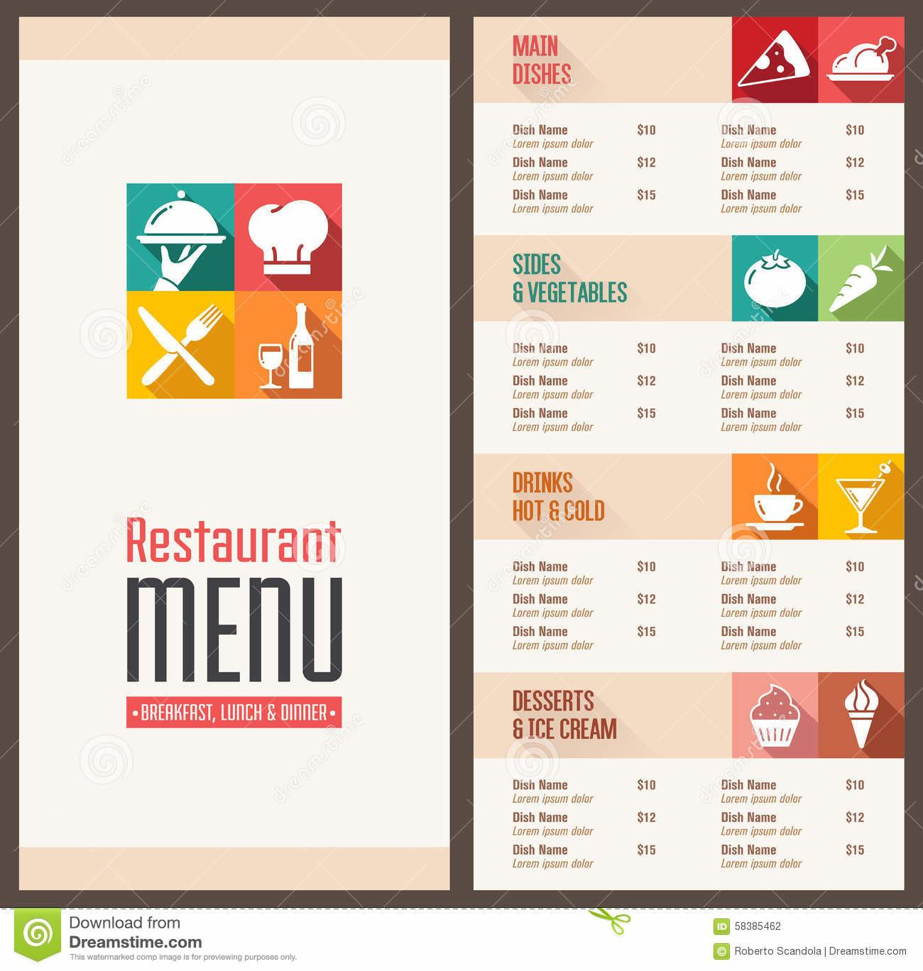 Modern Menu Template Stock Vector Illustration