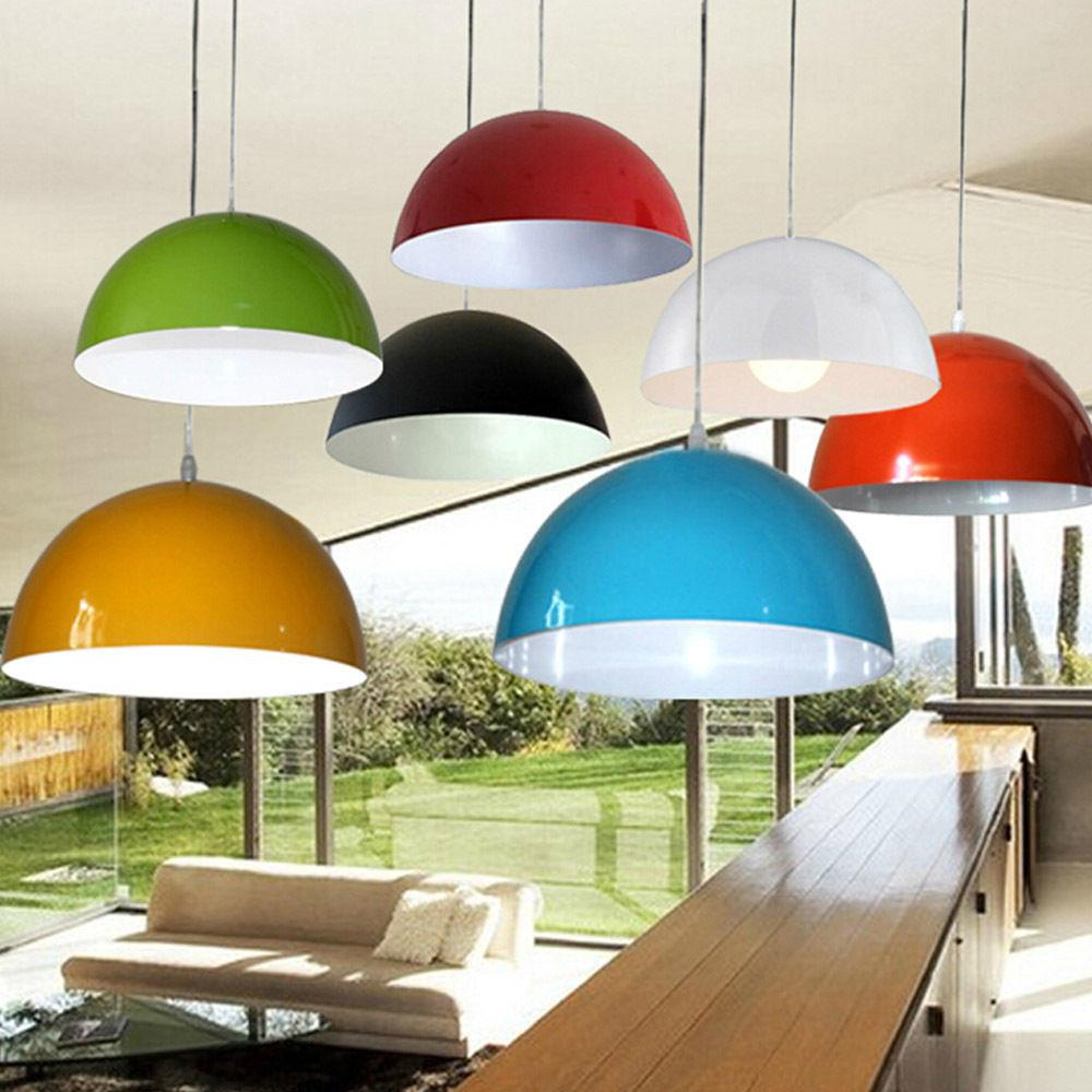 Modern Metal Cylinder Multi Color Lampshade Pendant