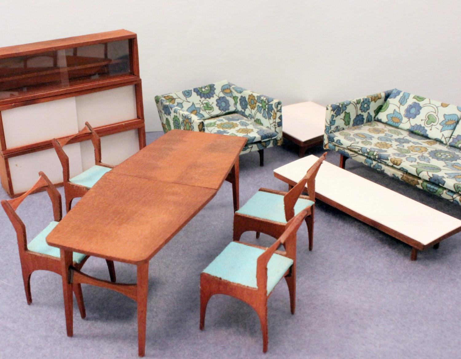 Modern Midcentury Dollhouse Furniture Teak Half Scale