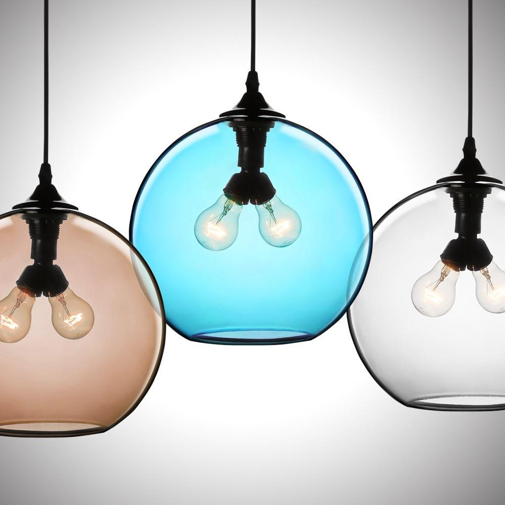 Modern Minimalist Glass Double Light Globe Pendant