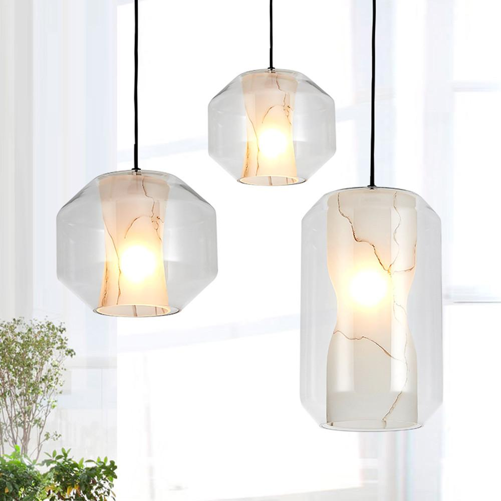 Modern Minimalist Led Pendant Lamp Clear Glass Marble