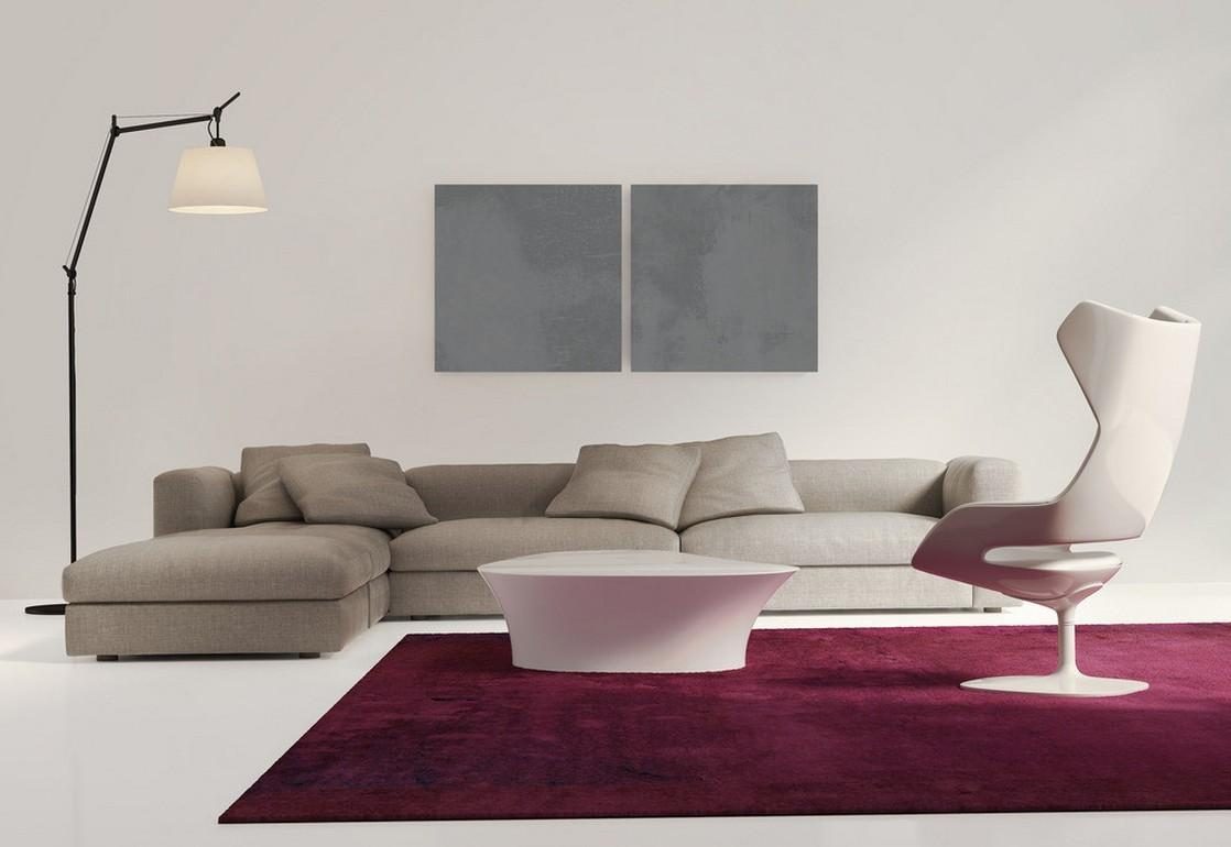 Modern Minimalist Living Room Purple Couch House