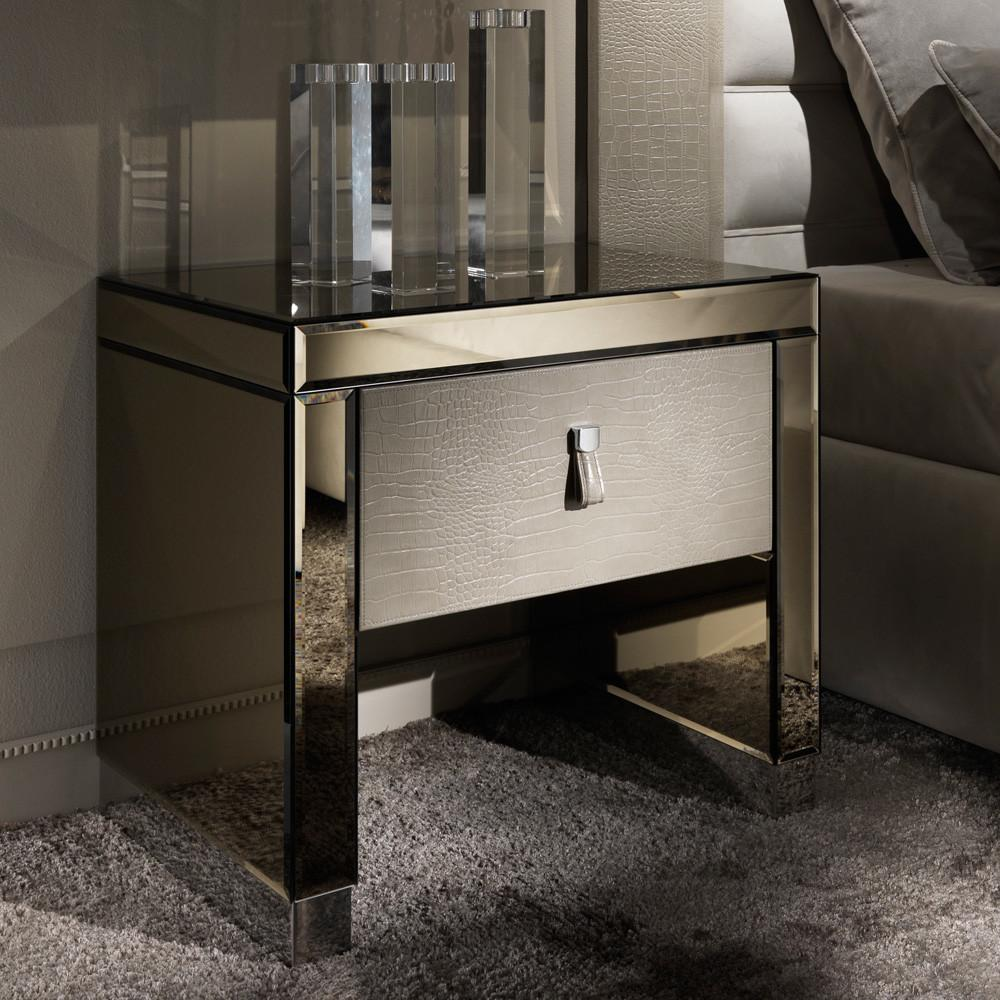 Modern Mirrored Alligator Embossed Leather Bedside Table