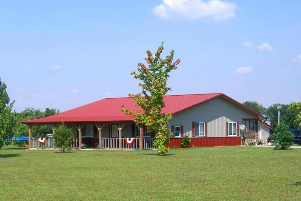 Modern Nice Design Pole Barn Home Architecture Red Roof