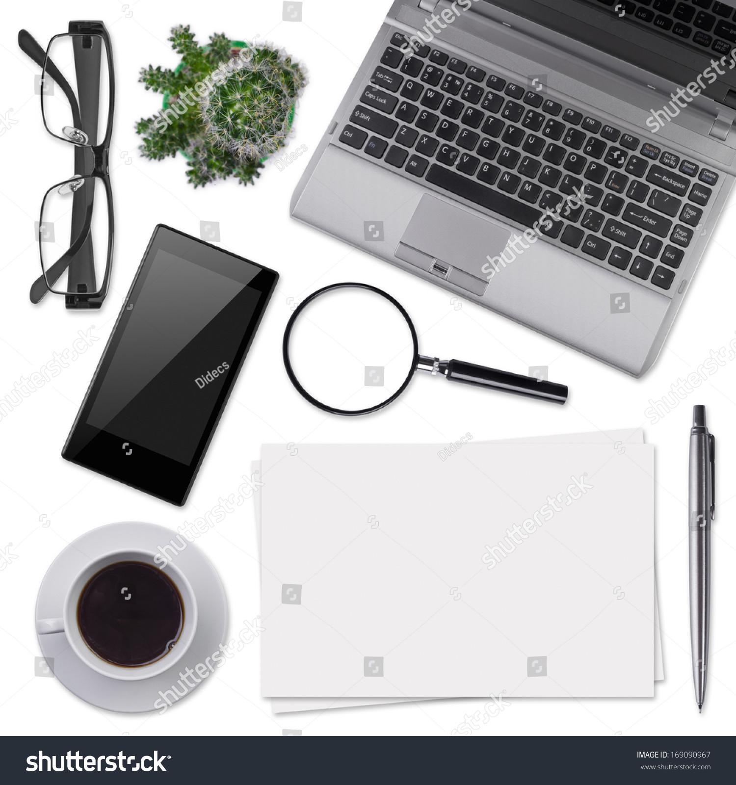 Modern Office Desk Supplies Isolated Stock
