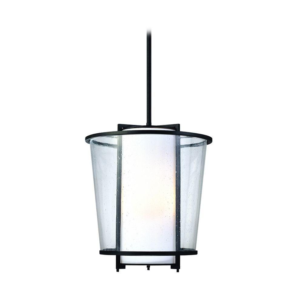 Modern Outdoor Hanging Light White Glass Forged