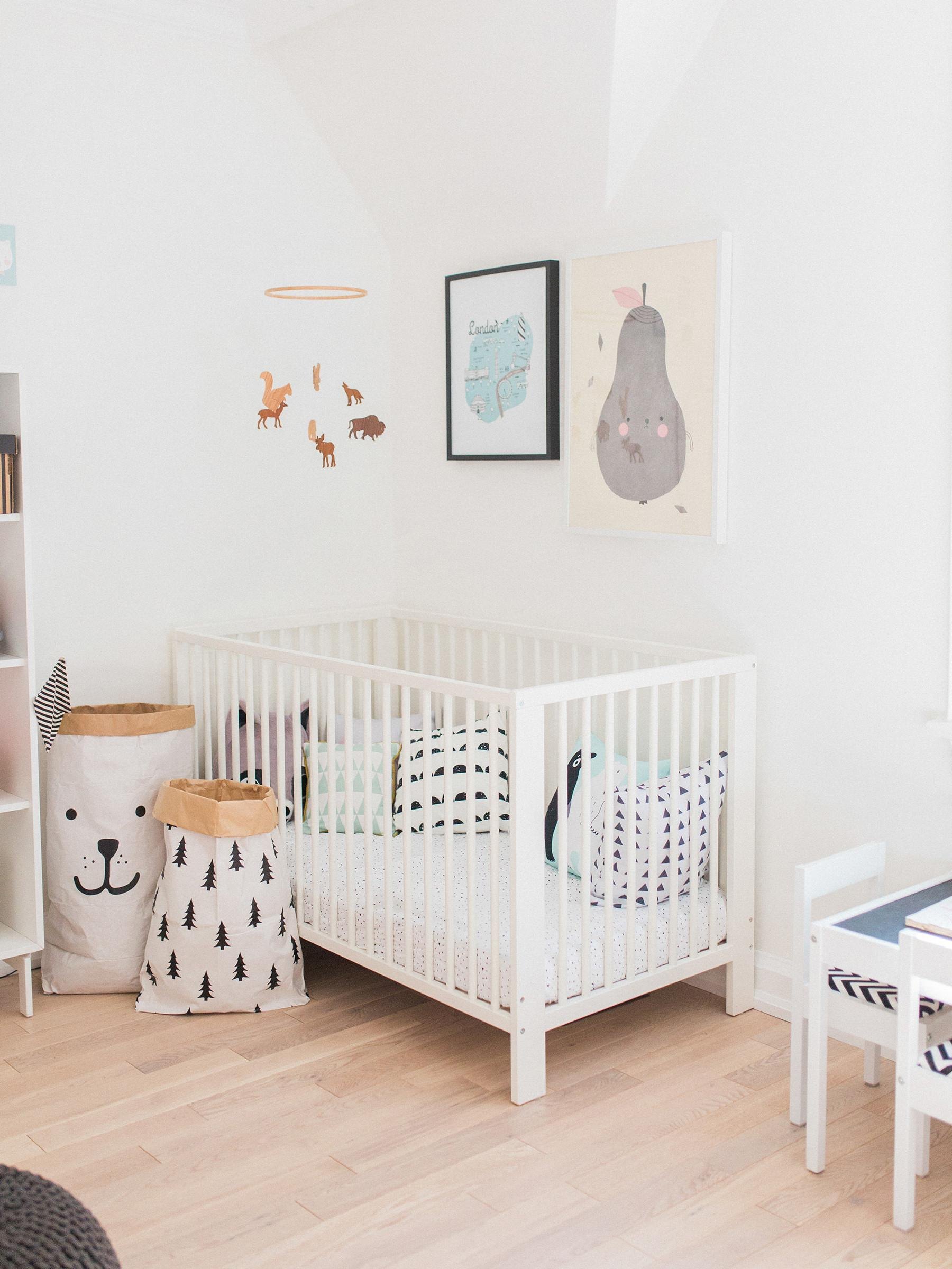 Modern Pastel Shared Baby Toddler Room Happy Grey
