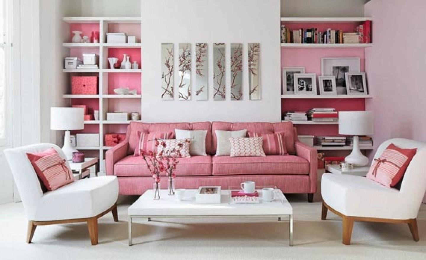 Modern Pink Living Room Interior Decorating Designs