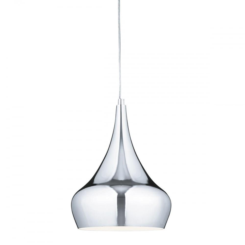 Modern Polished Chrome Ceiling Pendant Bulbous Curved