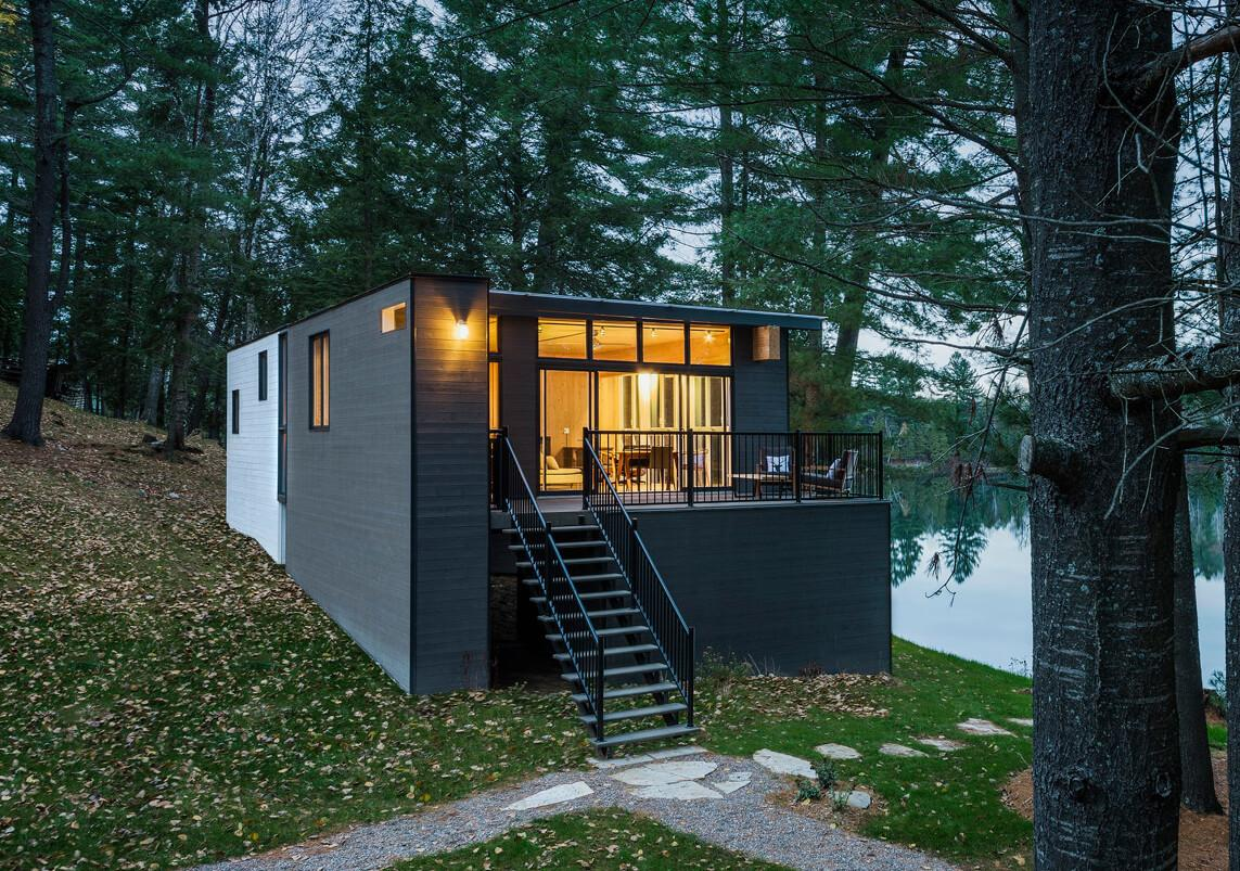Modern Prefab Cabin Quebec Uses Innovative Wood Panels
