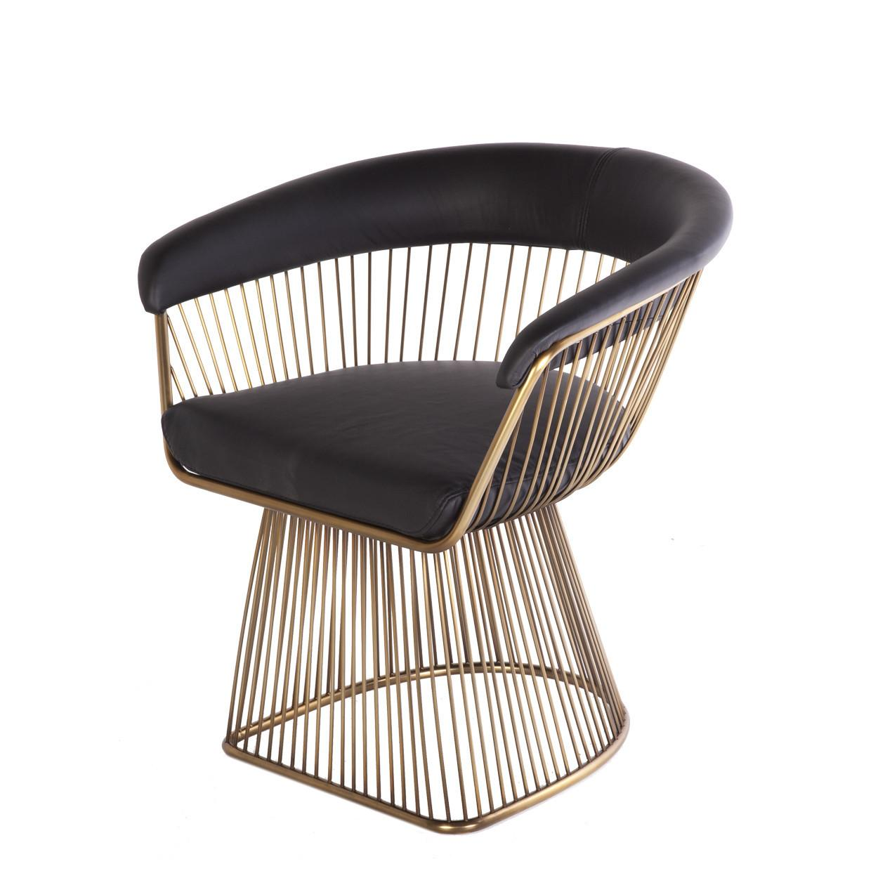Modern Reproduction Platner Arm Chair Black Leather