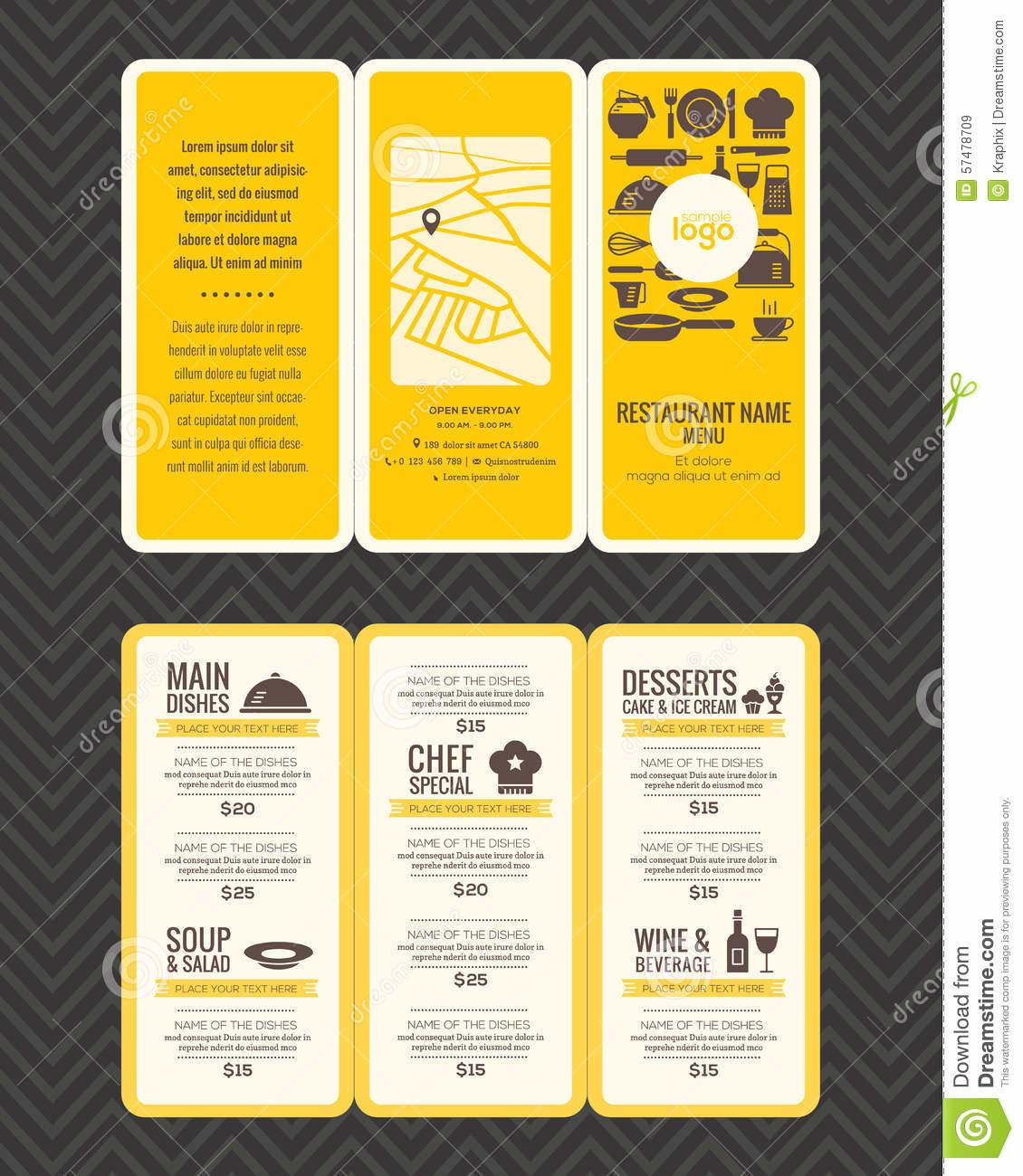 Modern Restaurant Menu Design Pamphlet Template Stock