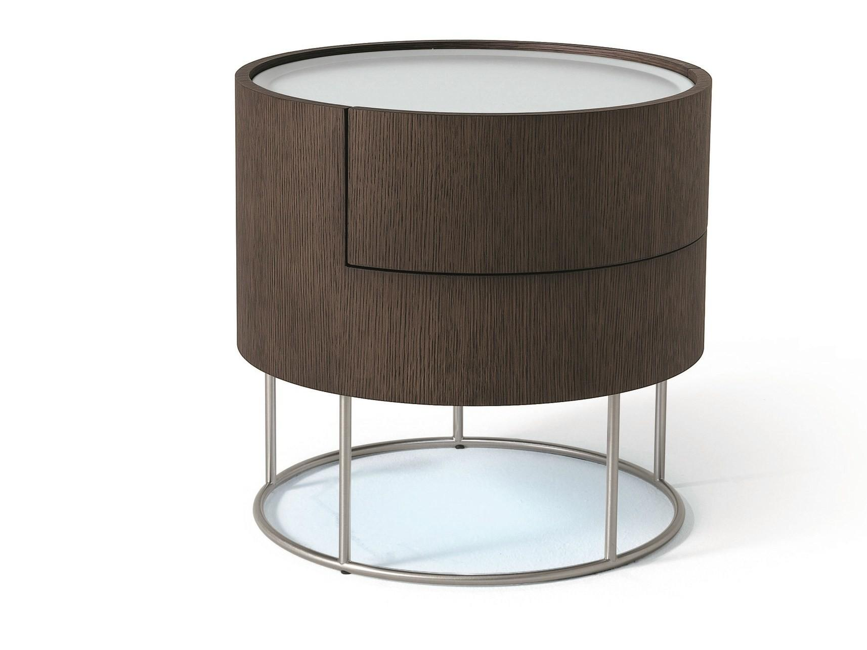 Modern Round Bedside Table Drawer Silver Metal