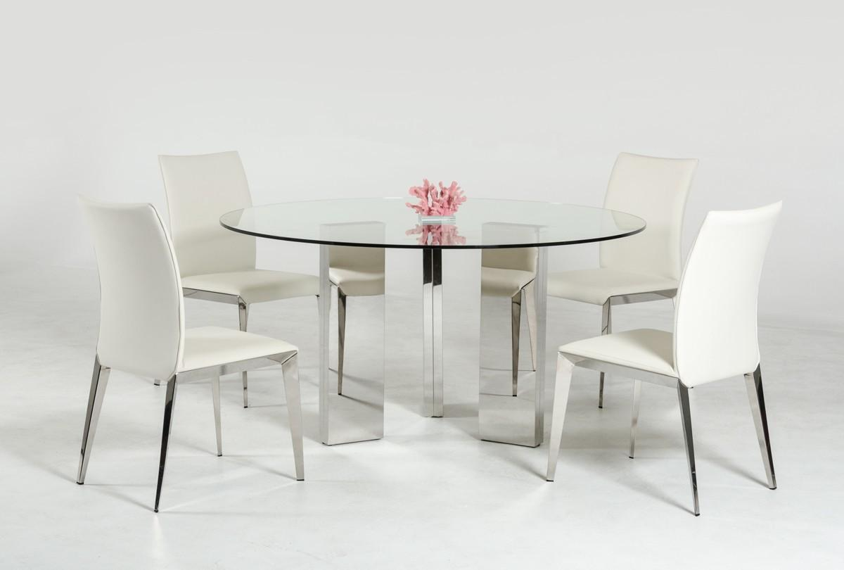 Modern Round Glass Top Dining Table Stainless Steel