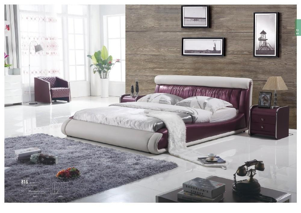 Modern Round Leather Bed Designs Remote Colors