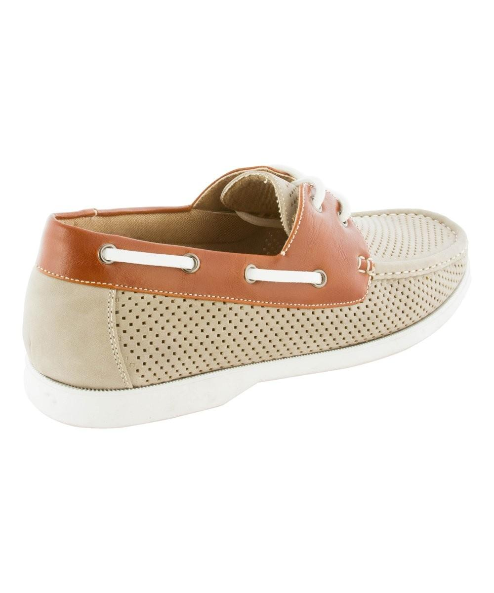 Modern Rush Beige Brown Perforated Marvin Boat Shoe Zulily