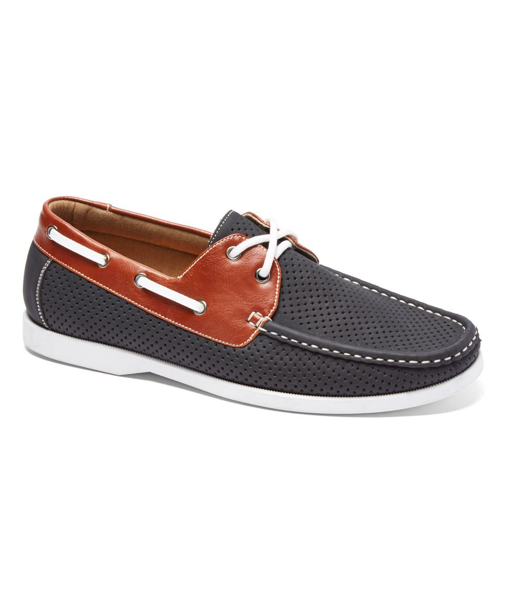 Modern Rush Black Brown Perforated Marvin Boat Shoe Zulily