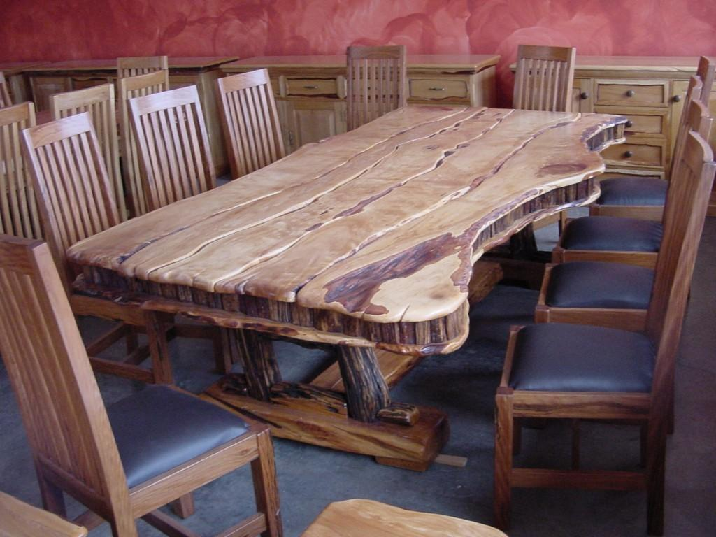 Modern Rustic Log Kitchen Tables Leather Cushion