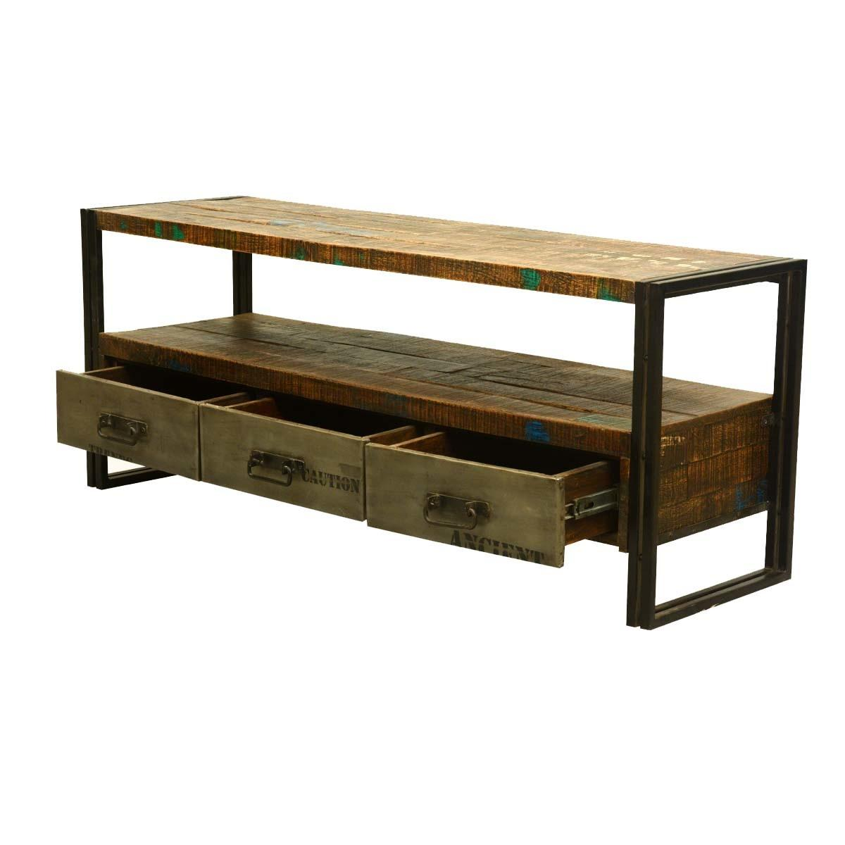 Modern Rustic Reclaimed Wood Iron Media Console