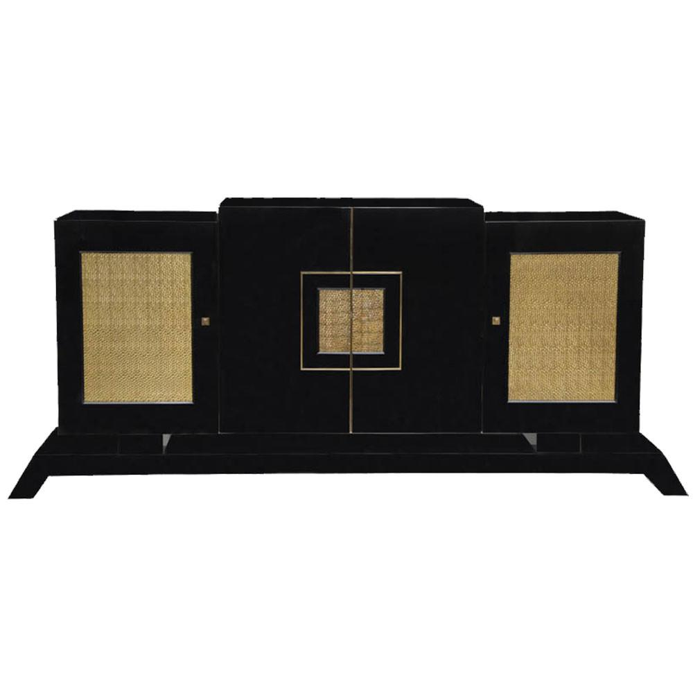Modern Sideboard Black Lacquer Textured Brass