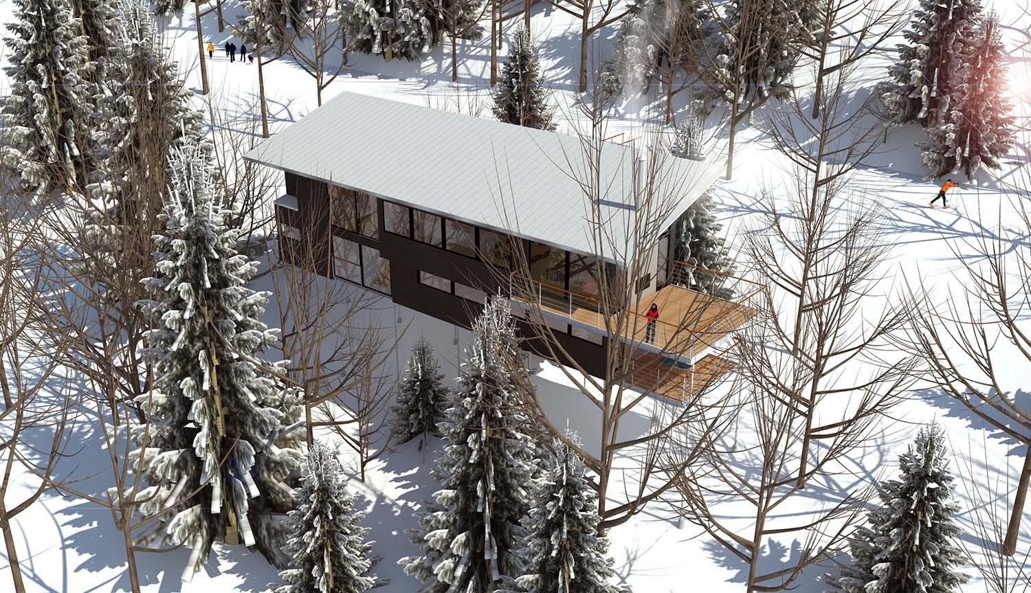 Modern Ski Chalet Nestled Snowy Slopes