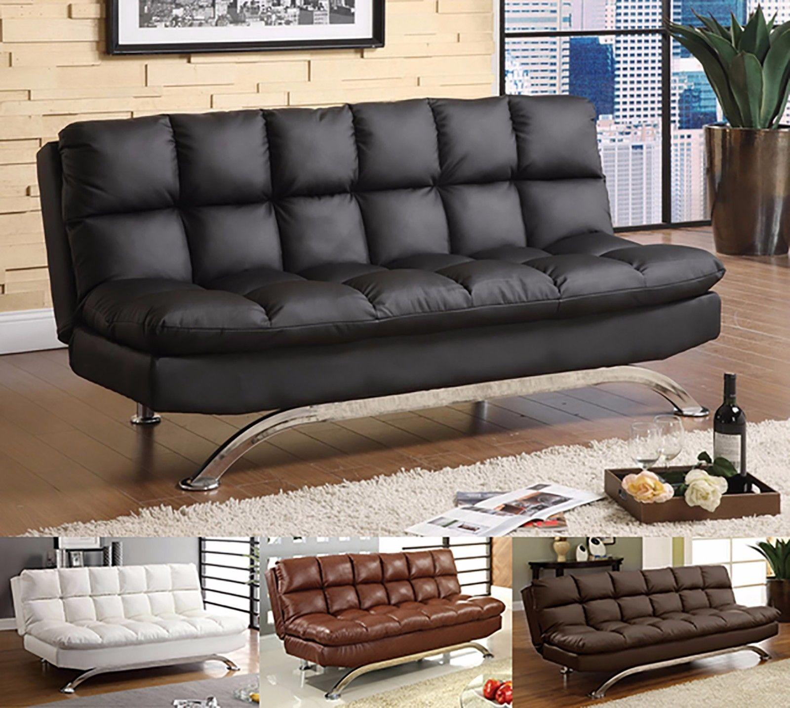 Modern Sleeper Sofa Bed Folding Couch Leather Futon