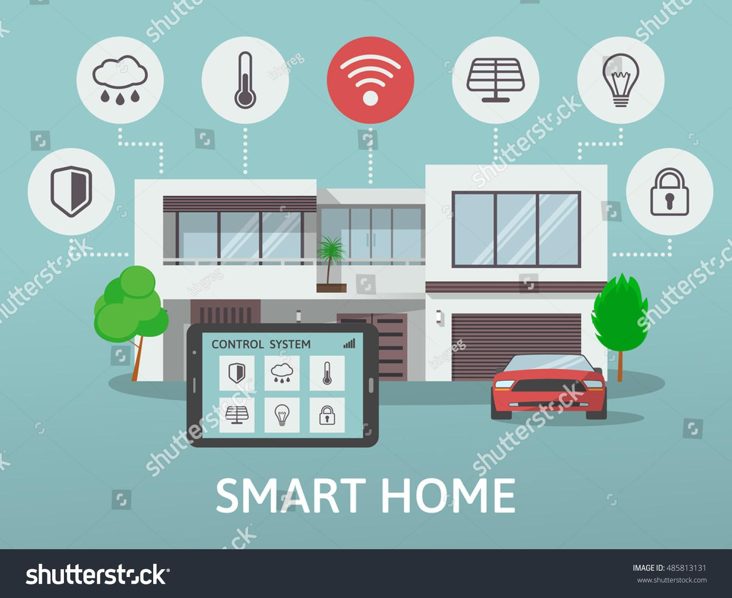 Modern Smart Home Flat Design Style Stock Vector