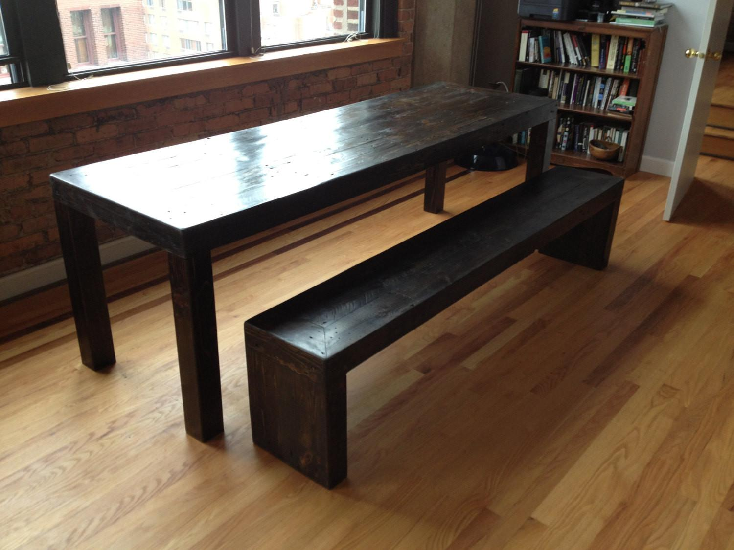 Modern Style Reclaimed Wood Dining Table Set Bench