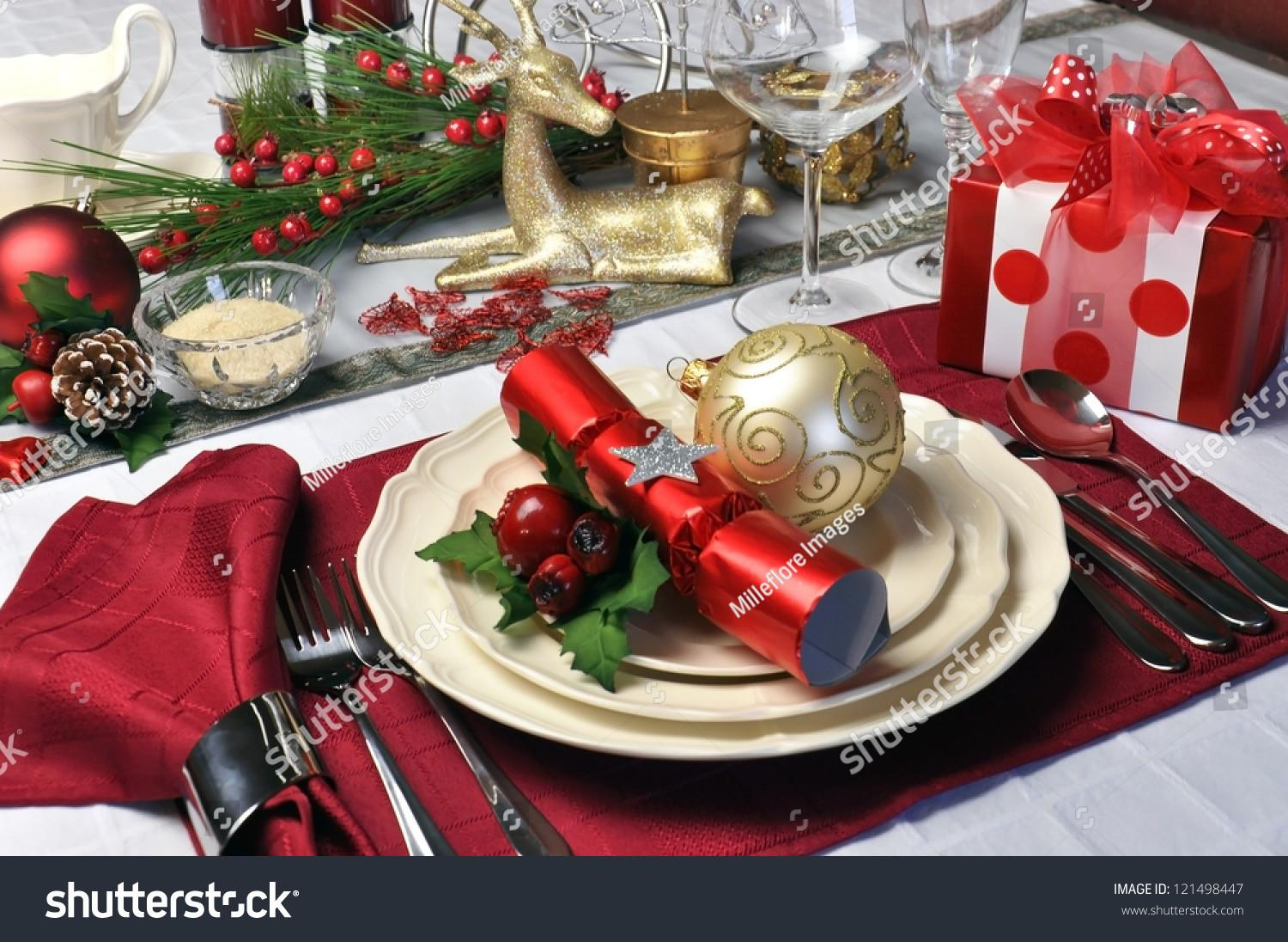 Modern Stylish Christmas Dinner Table Setting Stock