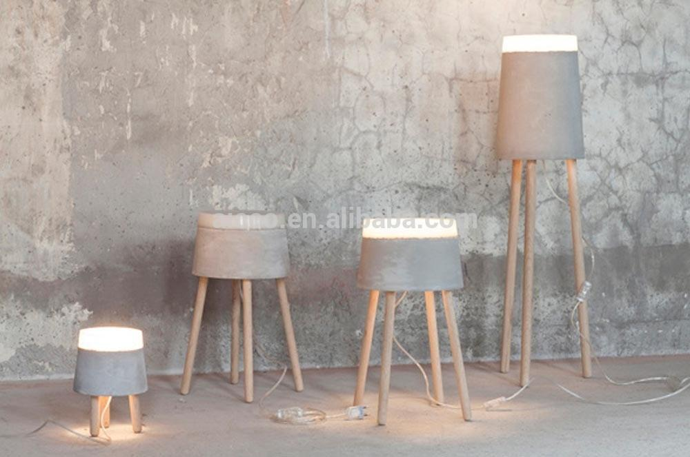 Modern Table Lamp Industrial Concrete Wood