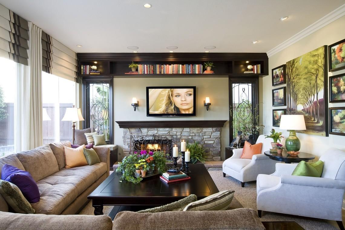 Modern Traditional Home Family Room Robeson Design San