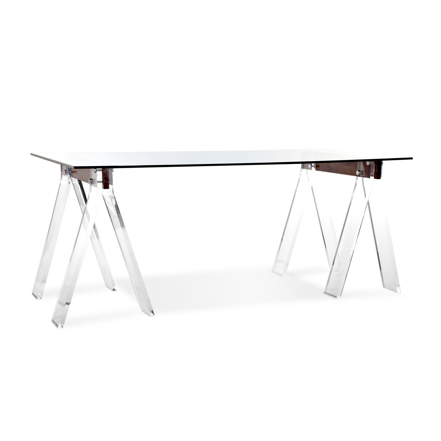 Modern Trestle Desk Office Design Rectangle Glass Top