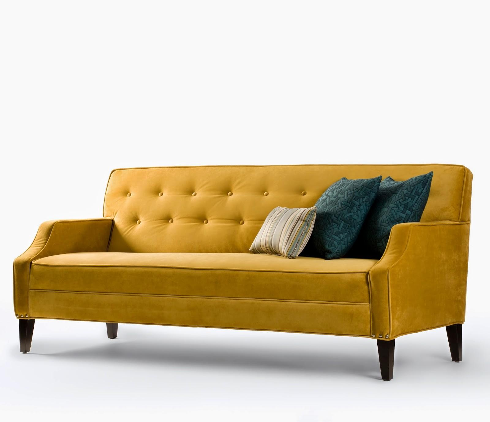 Modern Tufted Couch Yellow Color Wooden Legs