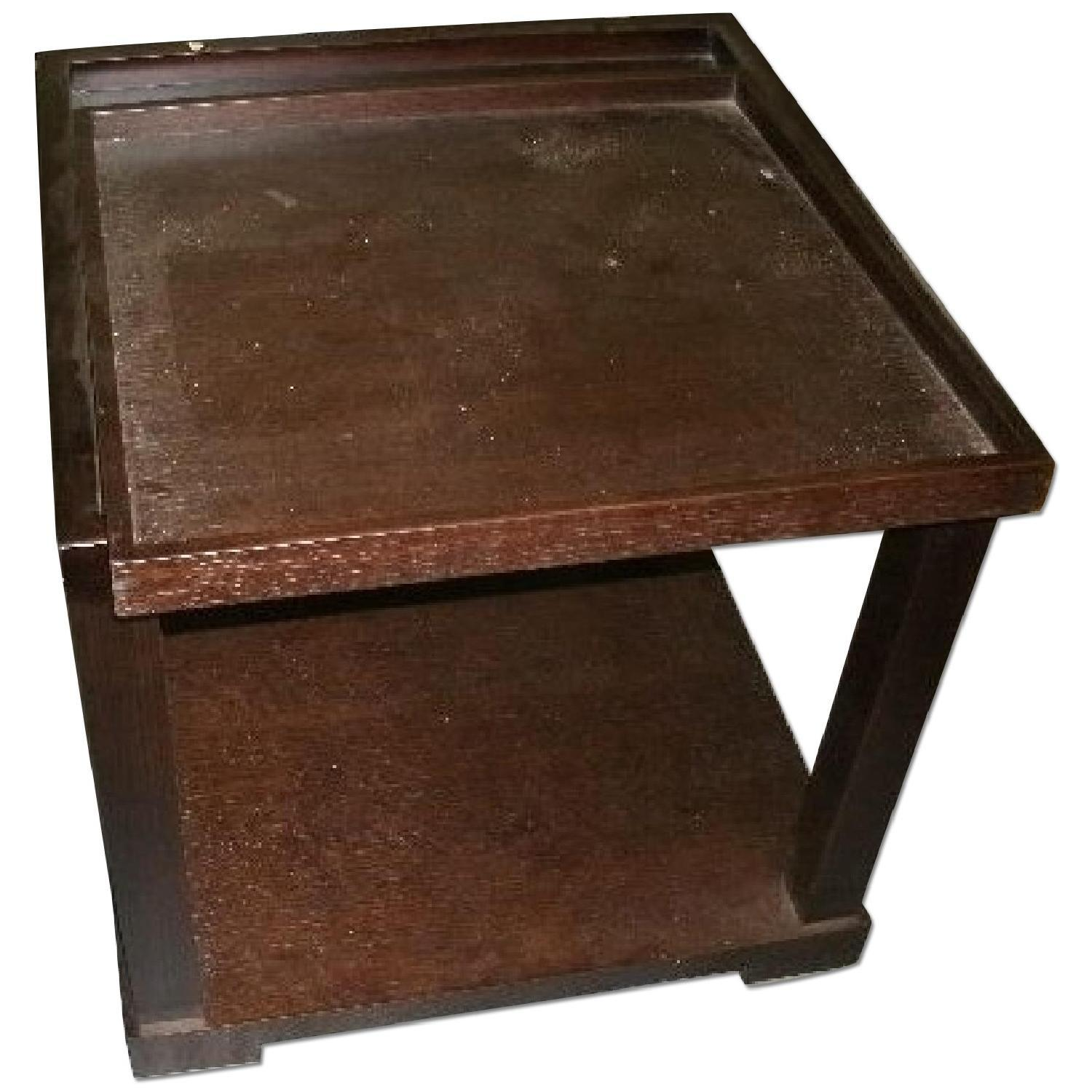 Modern Two Deck Square Side Table Serving Tray Aptdeco