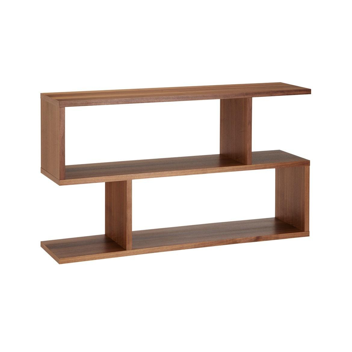 Modern Varnished Walnut Wood Display Book Shelves
