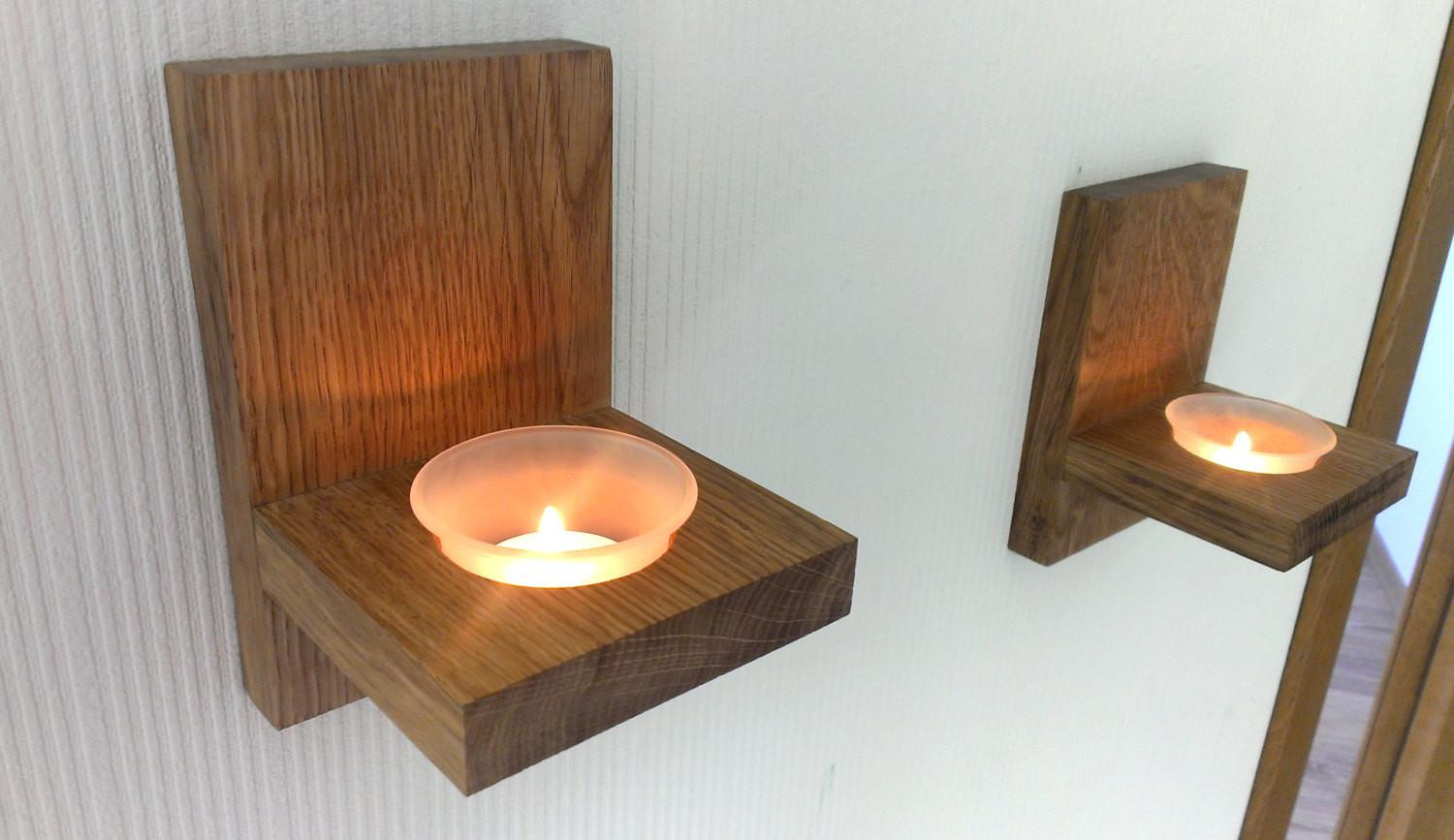 Modern Wall Mount Tea Light Candle Holder Oak