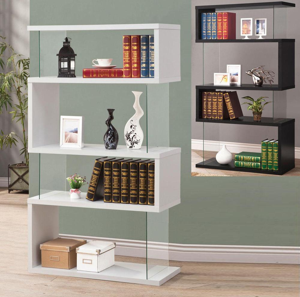 Modern White Black Long Floating Shelf Bookcase