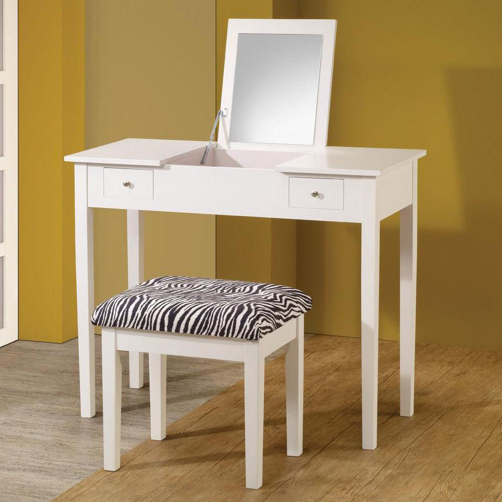 Modern White Lift Top Make Table Vanity Set Study Desk