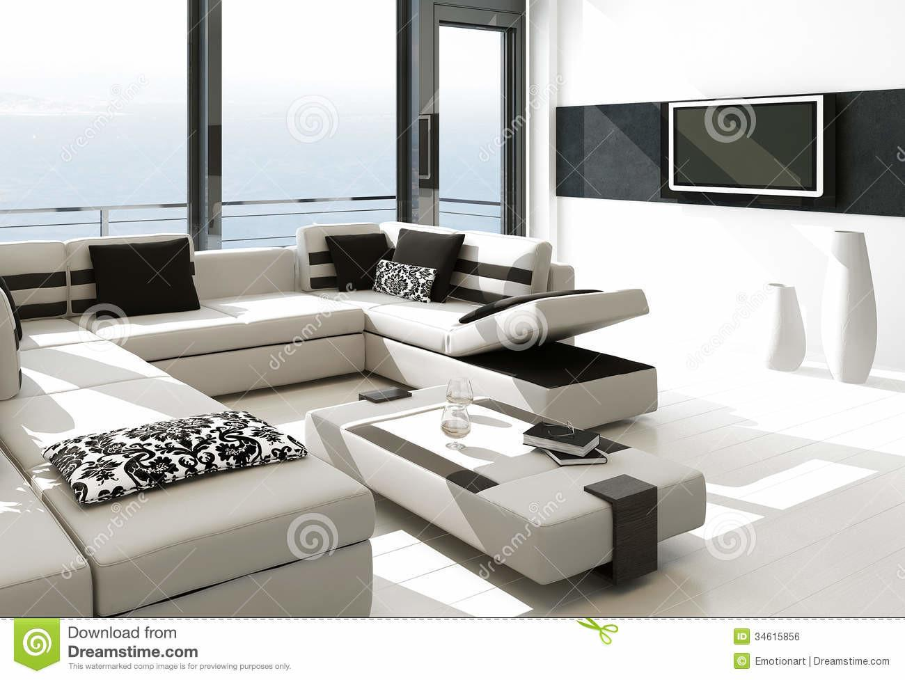 Modern White Living Room Interior Splendid Seascape