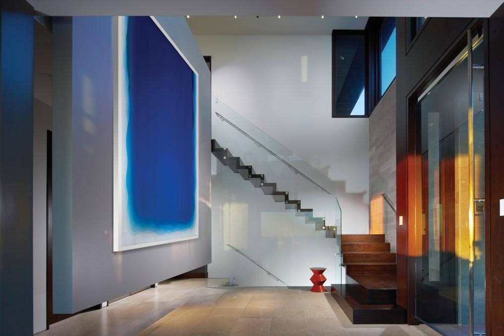 Modern White Nuance Abstract Painting Hallway
